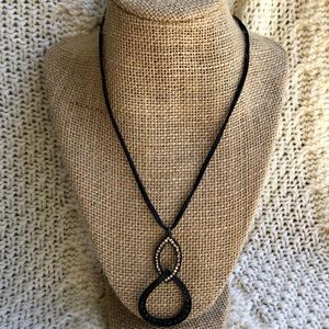 Lia Sophia Black Leather Cord Rhinestone Necklace